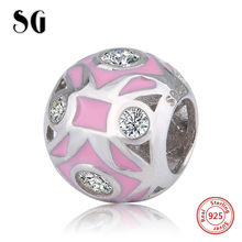 SG new arrival charms silver 925 beads with pink enamel&zirconia fit original pandora bracelet diy fashion jewelry making gifts