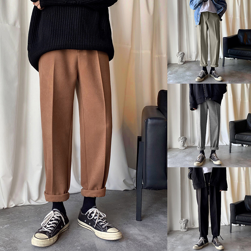 Winter Woolen Pants Men's Fashion Solid Color Casual Thick Pants Men Streetwear Wild Hip Hop Loose Straight Trousers Mens M-2XL