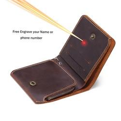 Retro Handmade oryginalne męskie portfele skórzane z portmonetka na zamek błyskawiczny portfel męski spersonalizowany Portomonee Man darmowe grawerowanie nazwa