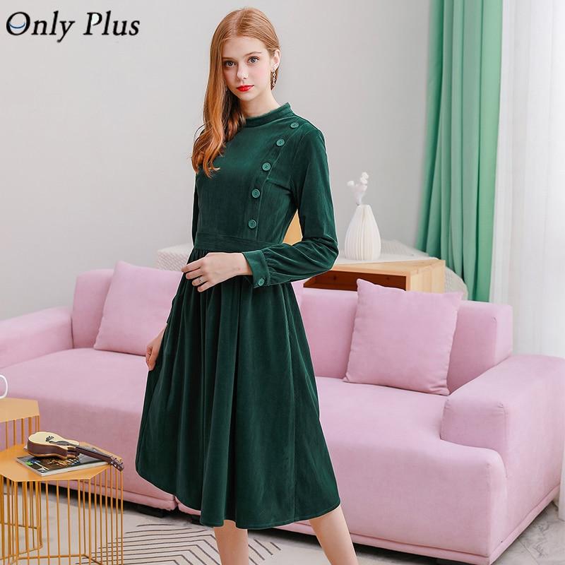 Only Plus Winter Velvet Dress Vintage Elegant Slim A-Line Women Party Long Dresses Button Style Warm Female Green Vestidos