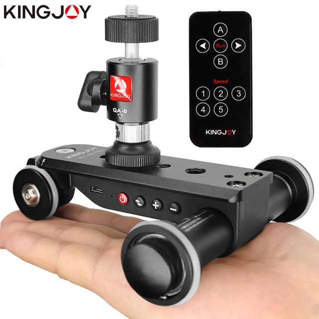 KINGJOY PPL 06SPRO Camera Slider Dolly Car Rail Systems Time Lapse Electric Motorized Dolly Car For Camera Phone Camcorder Dslr