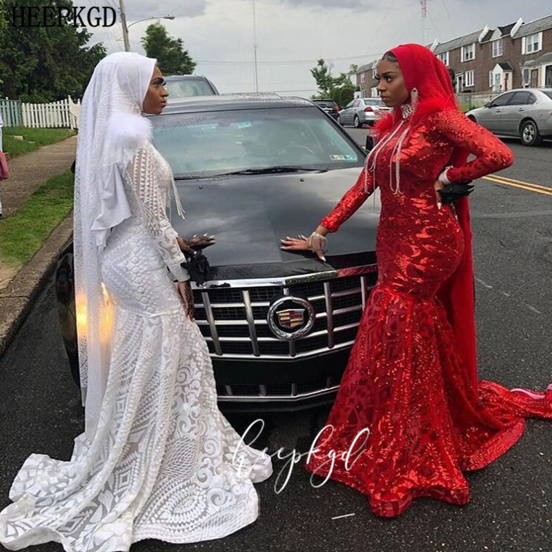White Sequins Mermaid Long Sleeves Muslim Evening Dress With Feathers Plus Size Bridal Wedding Party Gowns Robe De Soiree
