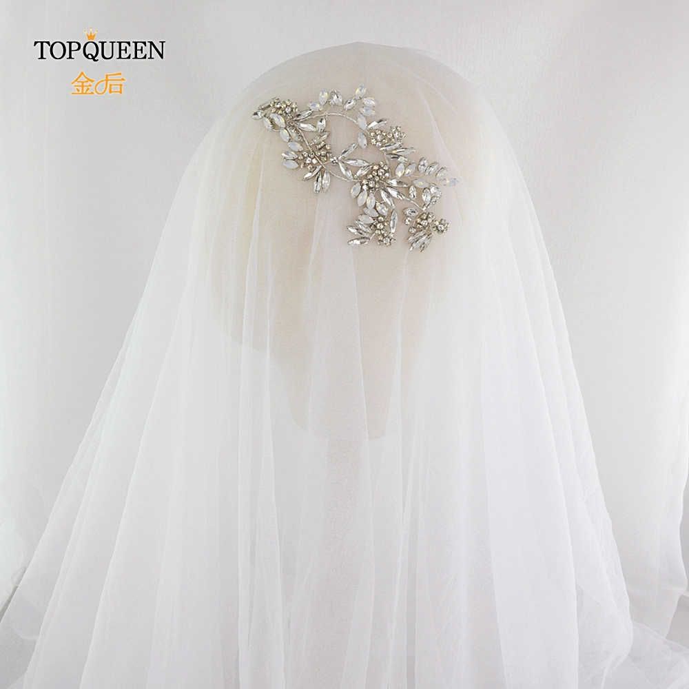 TOPQUEEN HP78 Chinese Bridal Hair Accessories High Quality Bridal Headband Rhinestone Headband Milk Rhinestone Wedding Headpiece