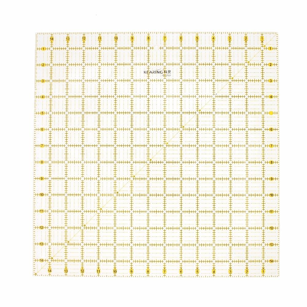 Лоскутная линейка 15*15 дюймов, инструменты для стеганого одеяла, ручной инструмент «сделай сам», прозрачная акриловая стеганая линейка, Большая квадратная швейная линейка, толщина 3 мм