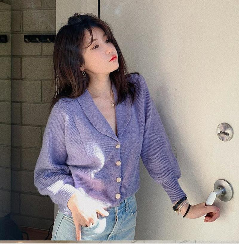 2020 Autumn Winter Women's V-Neck Sexy Cropped Knitwear Knitted Single Button Short Cardigans Lady Sweaters  CL700