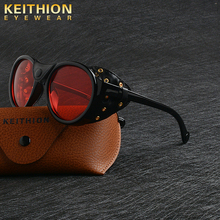 KEITHION 2020 Retro Round Punk Steampunk Sunglasses For Men Leather Side