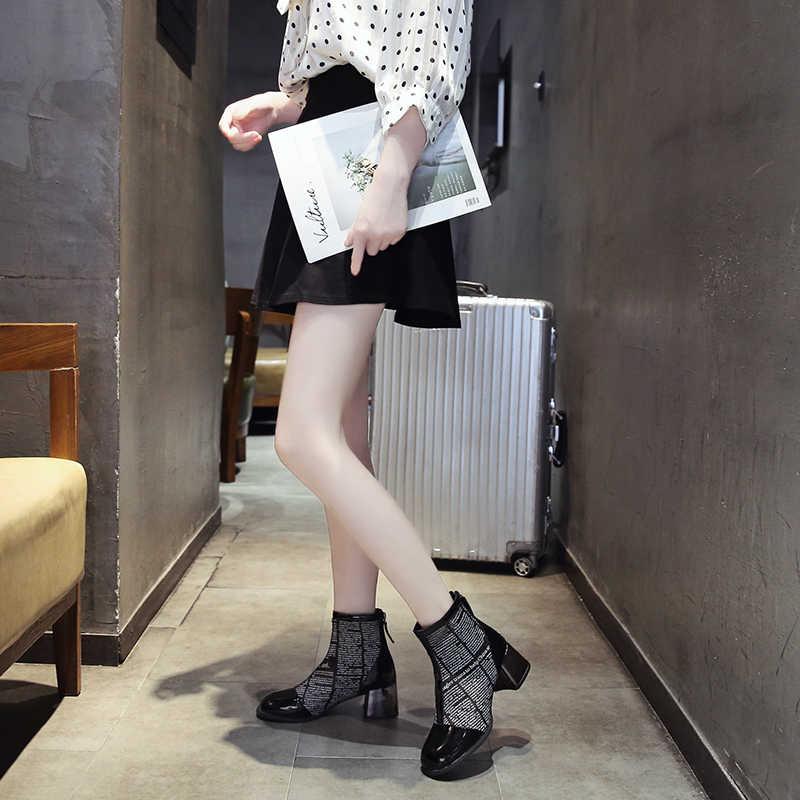 2019 г., летние женские ботинки «мартинсы» модные ботинки «Челси» с вырезами и сеткой на молнии сзади, серебристые короткие женские ботильоны на массивном каблуке