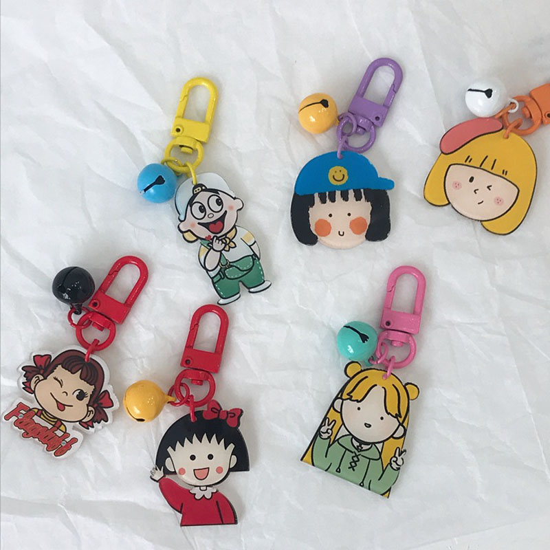 Women Cartoon Key Chains Cute Bag Mini Hanging Accessories Car Key Pendant  Girls Charm Backpacks Key Ring With Bell