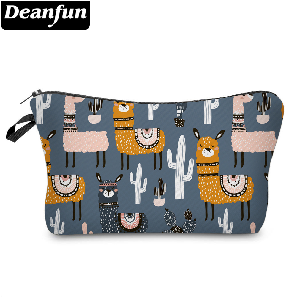 Deanfun Waterproof Small Makeup Bags Cute Llama Cactus Cosmetic Bag Gray Purse Organizer For Travel 51609