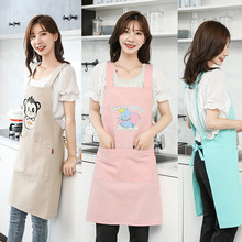 Cotton canvas apron, Korean version, Korean style, lovely Japanese kitchen, cooking and oil-proof work clothes(China)