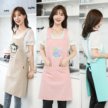 Cotton canvas apron, Korean version, Korean style, lovely Japanese kitchen, cooking and oil-proof work clothes wq002 kitchen oil proof cloth apron black