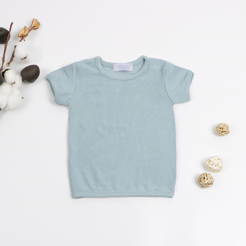 2020 Summer Newborn Baby T Shirts Ribbed Girls Top Tees Short Sleeve White Black Cotton T Shirt for Kids Boy Girl Clothing title=
