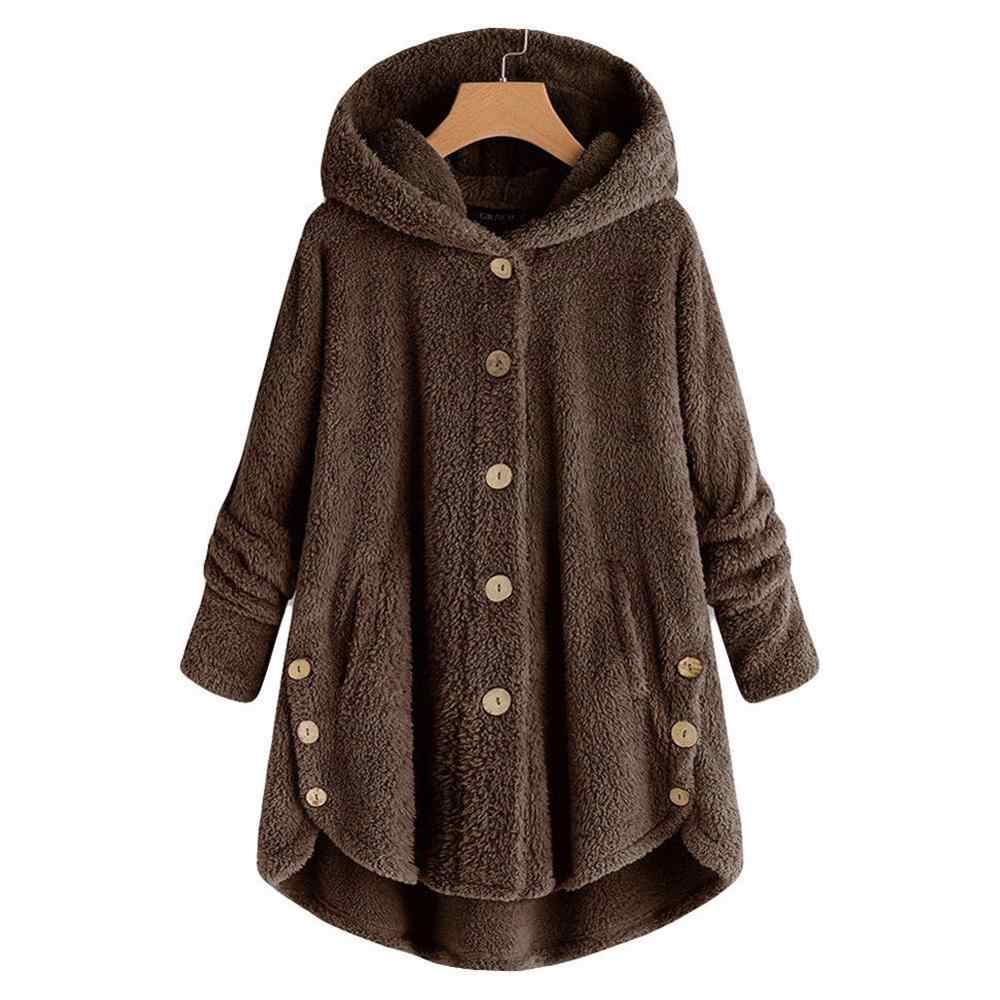 Frauen Mäntel warme Winter Mantel Mode Faux pelz Plüsch Mantel Lose pelz jacke plus größe Outwear Lange Hülse Frauen Top