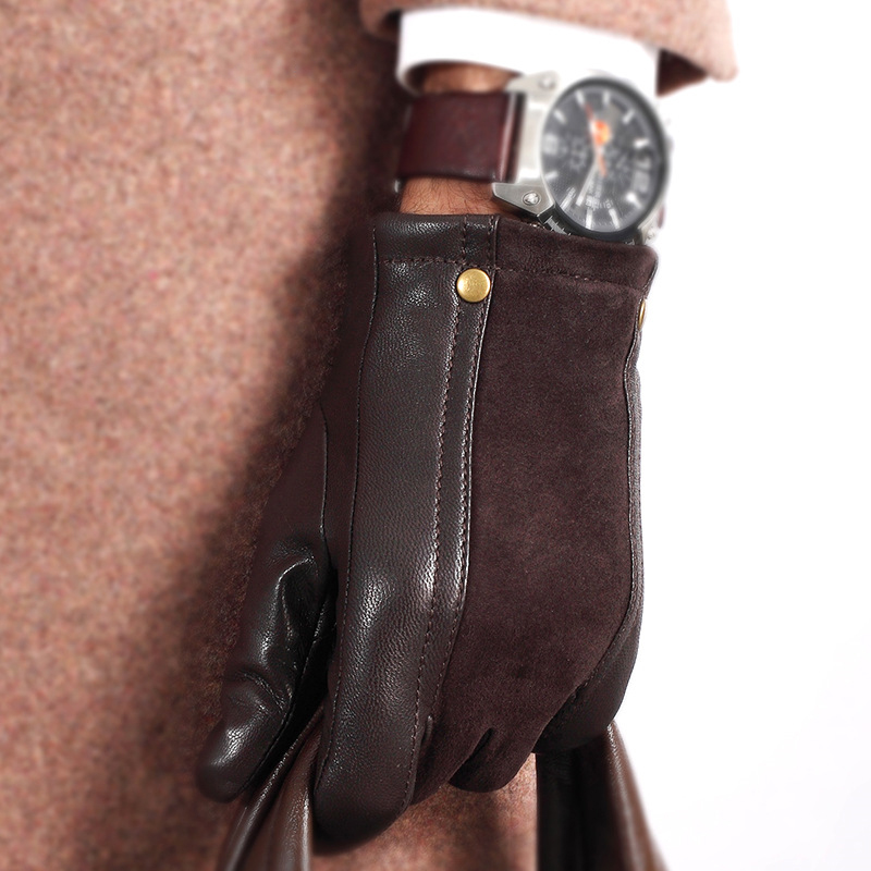Image 2 - Genuien Leather Male Gloves Autumn Winter Thicken Warm Driving Sheepskin Gloves Man Black Casual Leather Gloves TU2801-in Men's Gloves from Apparel Accessories