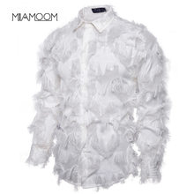 MIAMOOM Men's Shirt Handmade Three-dimensional Feather Fabric Features Henry Collar Long-sleeve Shirts(China)