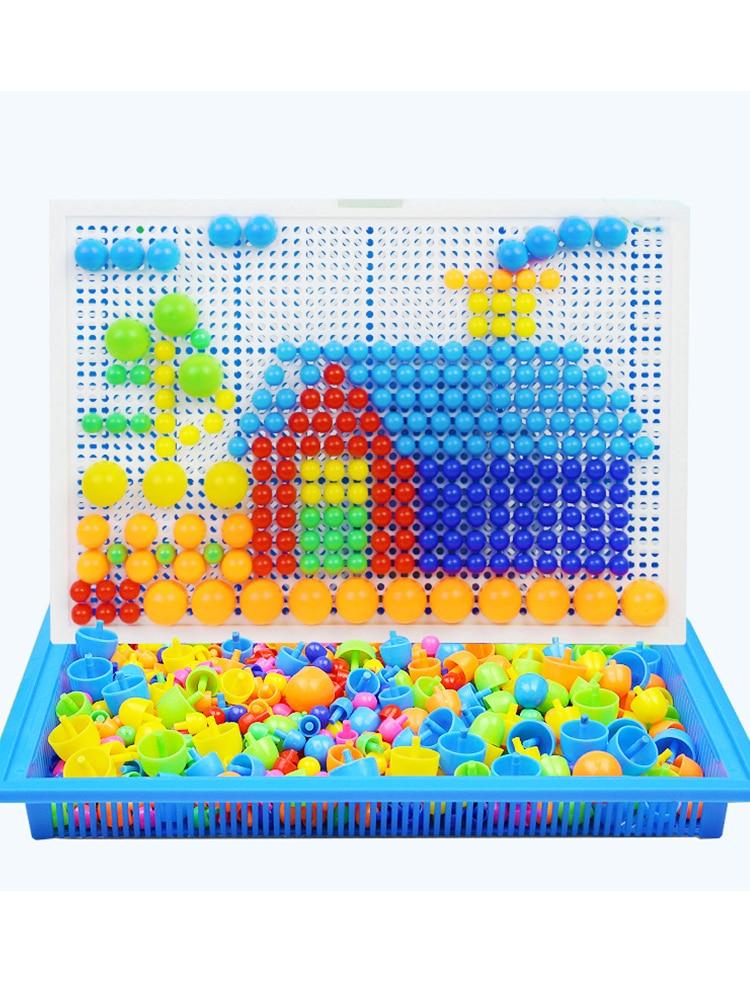296pcs Plastic Mosaic Puzzle Game Color Cognition Intellectual Educational Toys for Children