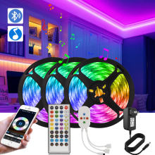 Bluetooth LED luces de tira RGB 5050 música sincronización luces LED con Control de voz DC 12V 5M 10M 15M 20M Color de tira de neón