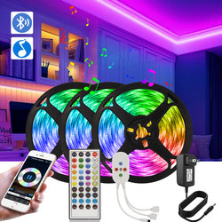 Bluetooth LED Strip Lights RGB  5050 Music Sync LED Lights With Voice Control  DC 12V 5M 10M 15M 20M Color Changing Neon Strip