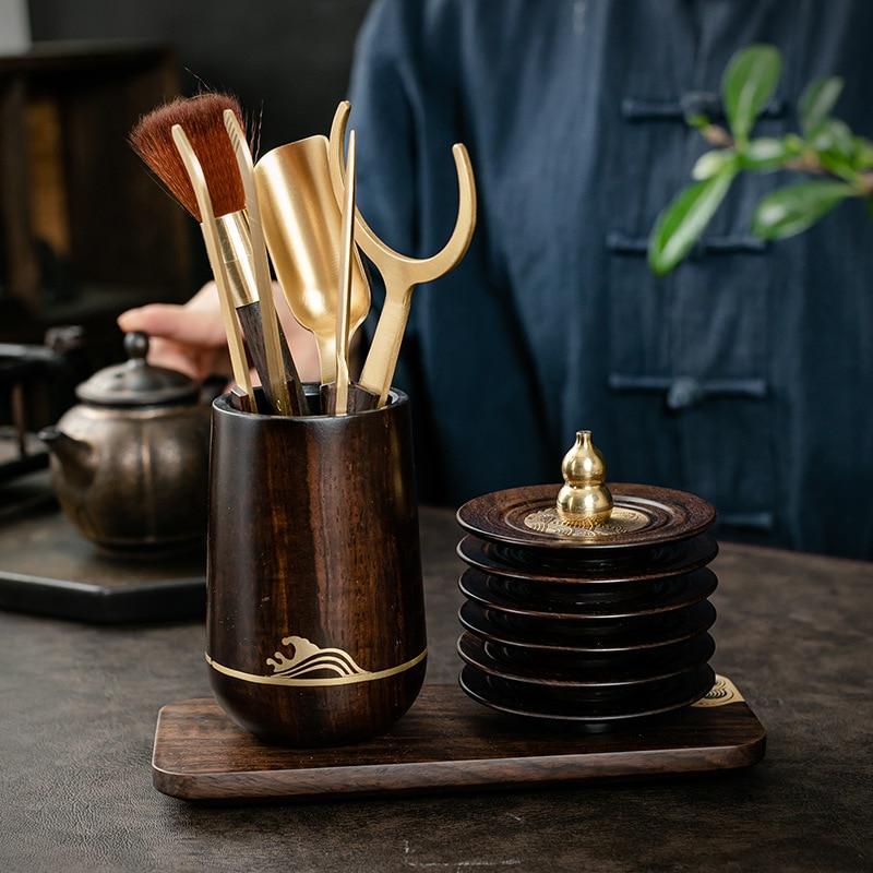 Tea Ceremony Six Items Solid Ebony Set Copper Kung Fu Tea Utensils Collection Stainless Steel Tea Clip Pen Holder Teacup Mat