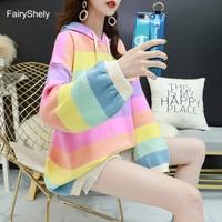 FairyShely Rainbow Hooded Sweater women Long sleeve streetwear outwear jumper coat Casual female Girls winter Pullovre sweater