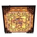 Потолочные светильники Тиффани ручной работы стекло барокко сплава винтажная лампа для фойе кровати комнаты 63*63 см 1117