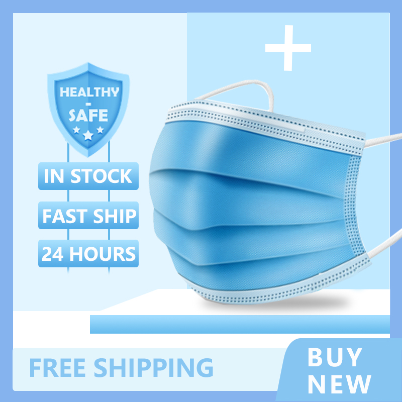 100pcs Fast Delivery 3-layer Mask Face Mouth Masks Non Woven Disposable Masks Earloops Masks Disposable Dust Filter Safety Mask