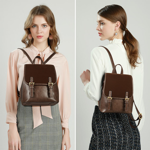 Image 3 - FOXER England Style Lady Backpack Cowhide Leather Retro Women Business Backpack Student Large Capacity School Bag Notebook Bag