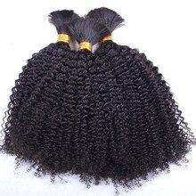 Mongol afro kinky cabelo encaracolado 1/3 pacotes de trança do cabelo a granel nenhuma trama longo kinky encaracolado feixes de cabelo humano remy extensões de cabelo