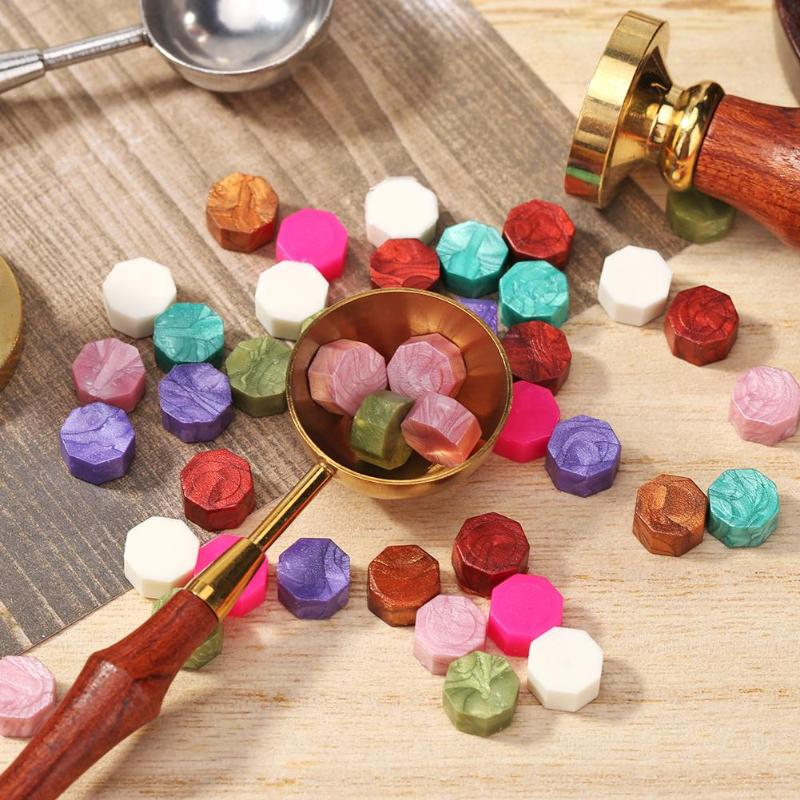 100pcs Vintage Octagon Wax Seal Stamp Tablet Pill Bead For Wedding Envelope