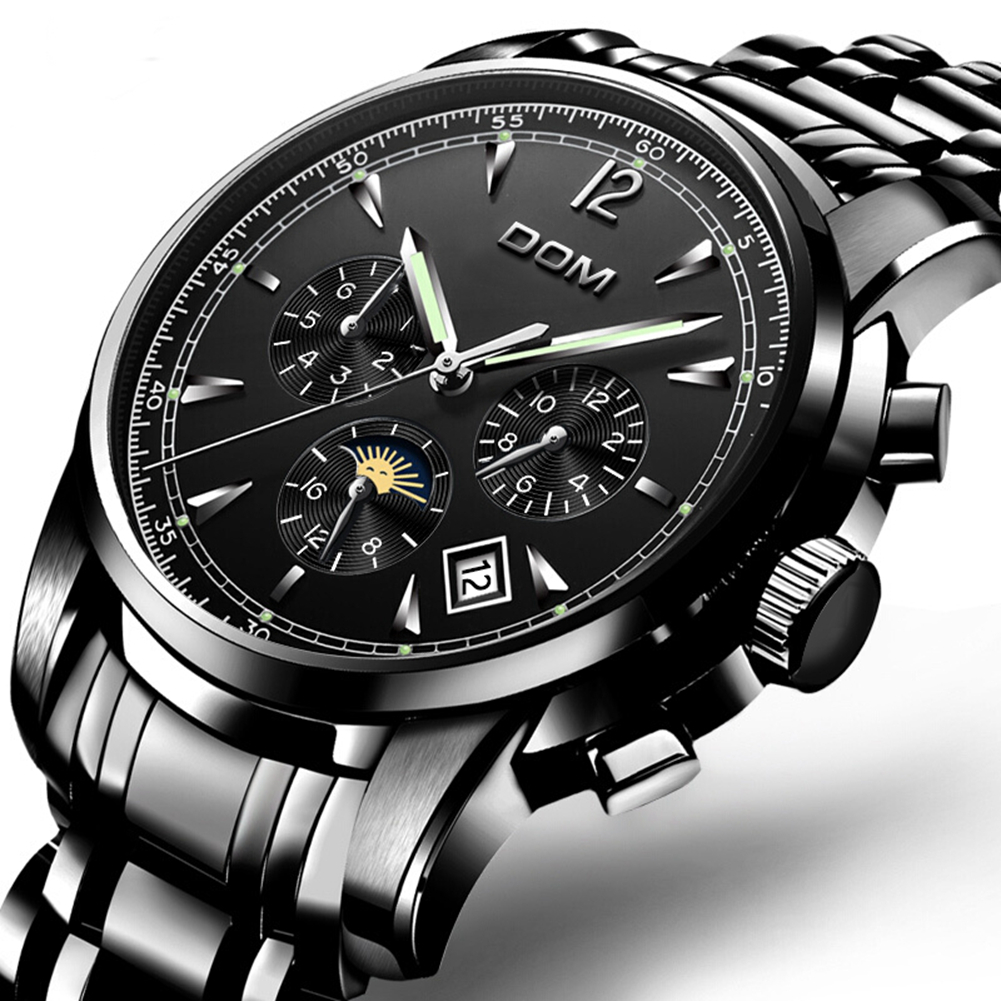 DOM automatic mechanical watch men watches fashion top brand luxury skeleton tourbillon moon phase sport watch montre homme|Mechanical Watches|   - title=