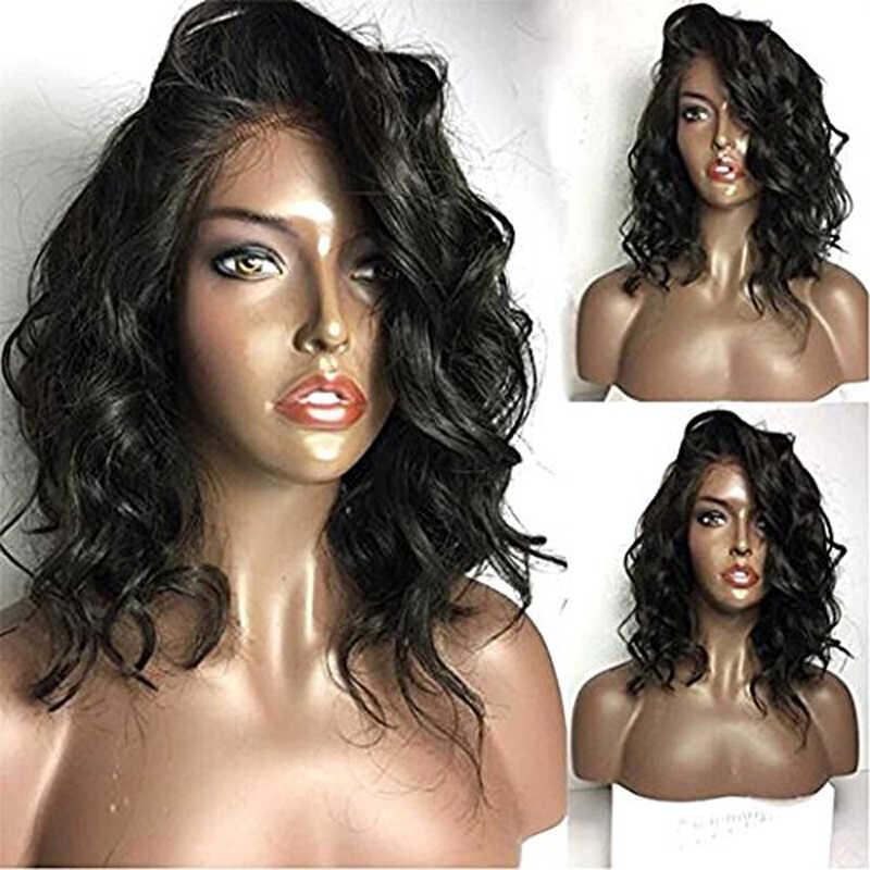 13X4 Losse Golf Synthetische Lace Front Pruiken Met Baby Haar Korte Zwarte Bob Transparante Pruik Voor Zwart Wit vrouwen Temperatuur Fiber