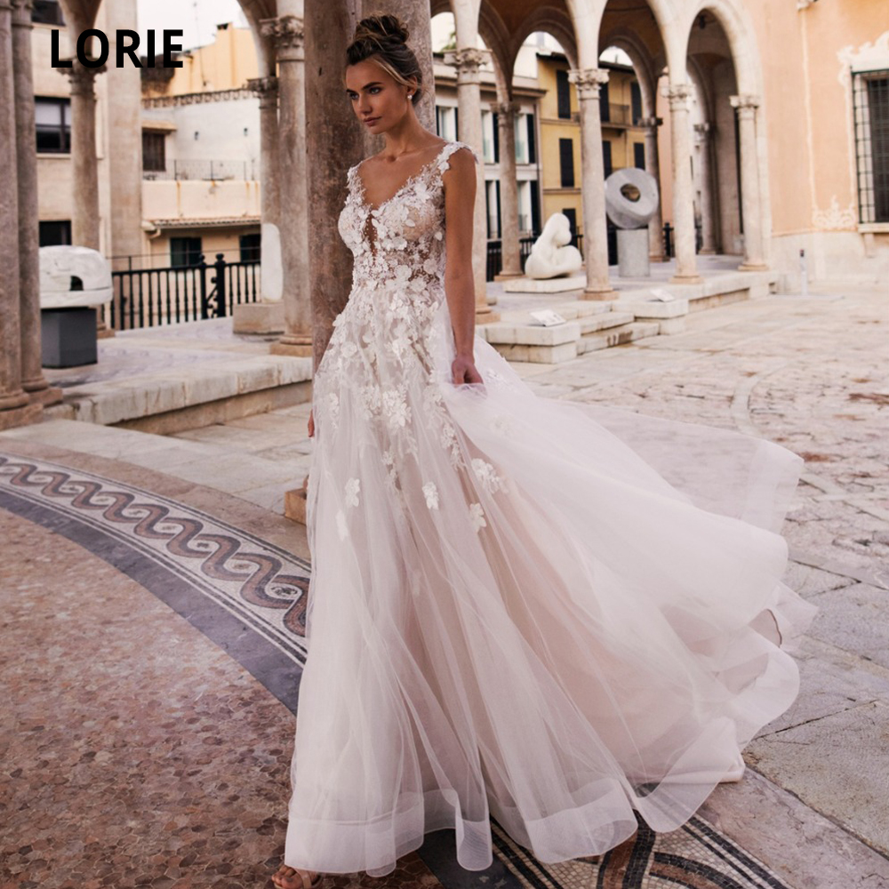 LORIE Summer Beach Wedding Dresses Boho 2020 Lace Appliques Soft Tulle Light Pink Bride Gown With Sweep Train Sleeveless Dress