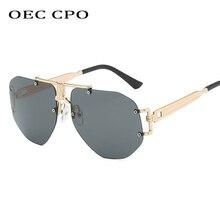 OEC CPO Luxury Rimless Sunglasses Women Men Transparent Shades Sun Glasses Female Metal Frame Black Color Grandient Oculos O53