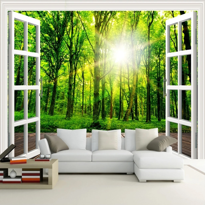 Custom Photo 3D Sunshine Green Forest Window Nature Landscape Painting Bedroom Living Room Sofa Decoration Wall Mural Wallpaper