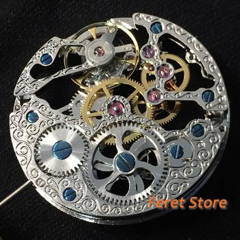 17 Jewels silver Full Skeleton 6497 Hand Winding movement Silver stainless steel fit parnis watch