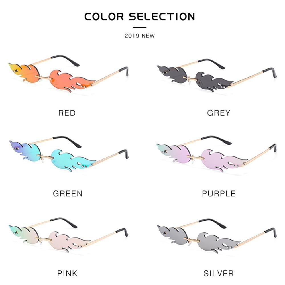 Fashion Fire Flame Sunglasses Women Men Rimless Wave Sun Glasses UV 400 Eyewear Luxury Trending Narrow Sunglasses