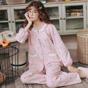 Image 4 - 2019 outono inverno conjuntos de pijamas femininos flor impressão luxo feminino duas peças camisas + calças camisola macio bonito rosa pijamas