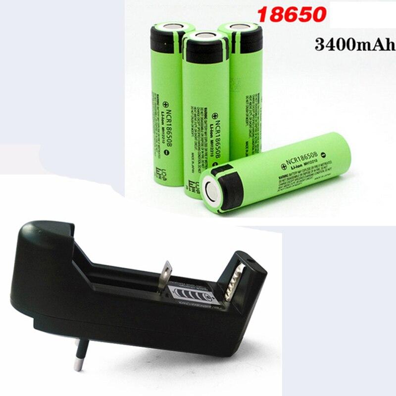 Оригинальный перезаряжаемый аккумулятор NCR 18650 3,7 в 3400 мАч + зарядное устройство для ЕС, литий-ионные перезаряжаемые батареи NCR18650B, аккумулят...