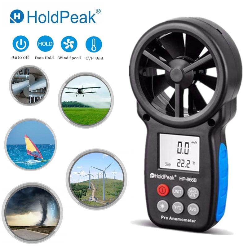 HoldPeak HP-866B digitaalse anemometro anemomeetri tuulekiiruse mõõtmise tuuleseade, mis on käes kaasaskantava kotiga