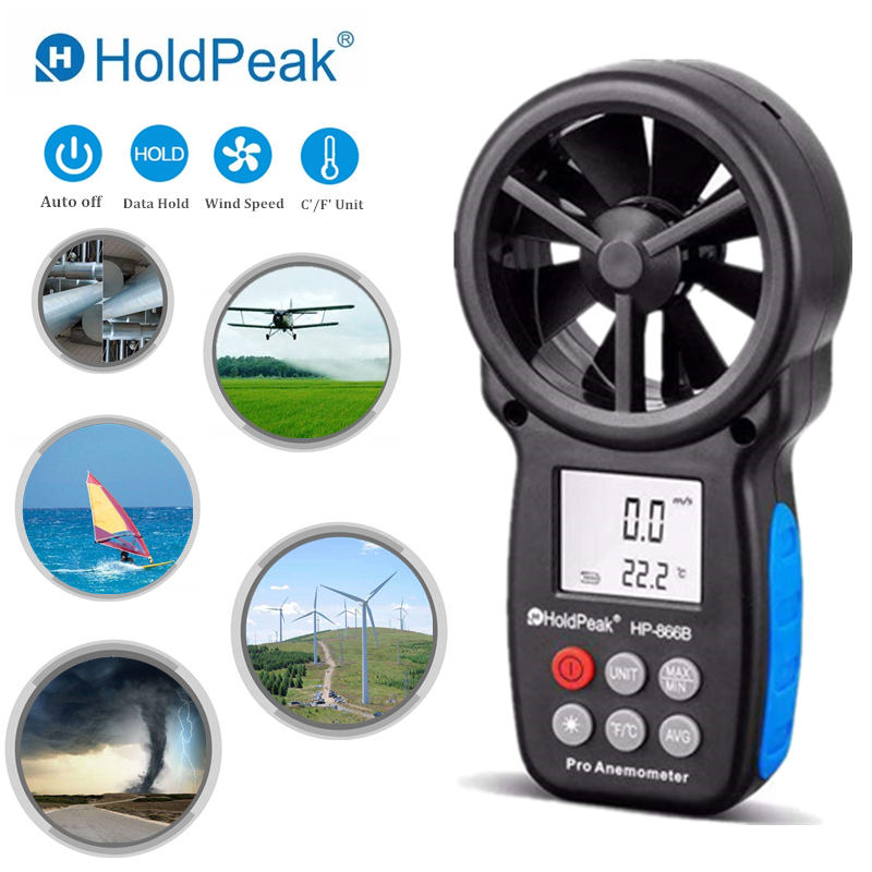 HoldPeak HP-866B風速計デジタル風速計風速測定風力デバイスキャリーバッグ付きハンドヘルド