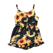 1-5 Years Infant Baby Kids Girls Toddler Summer Lace Up Strappy Sunflower Jumpsuit Romper Clothes(China)