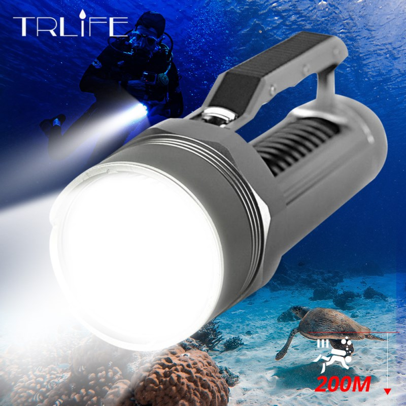 Diving Light 4*L2 <font><b>60000LM</b></font> <font><b>Led</b></font> Diving Flashlight Waterproof Lamp Scuba Underwater 200M Work Torch using 2 x 26650 For Camping image