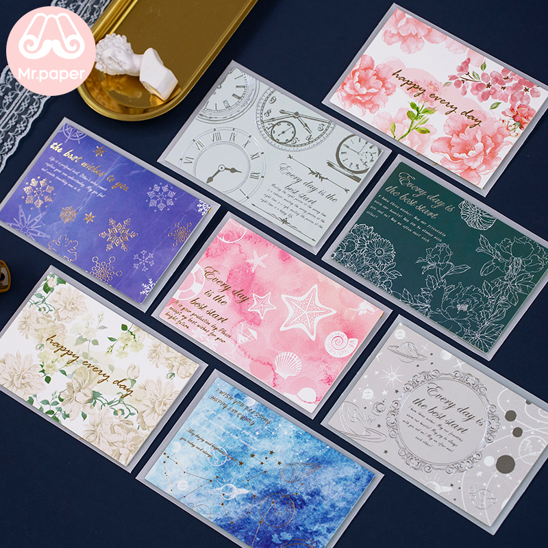 Mr Paper Flower Feather Time DIY Invitation Greeting Card With Envelope Handmade Dry Flower Wedding Party Invitation Envelopes