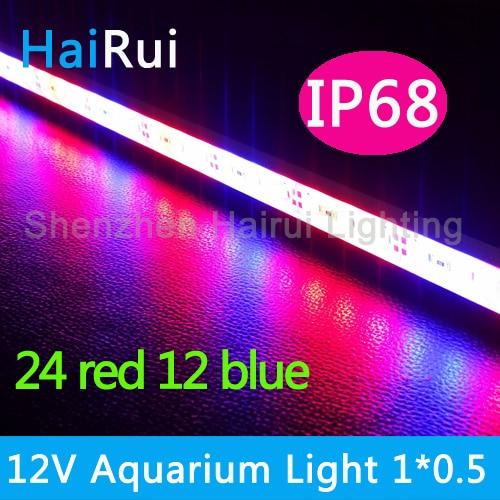 1pcs DC12V 0.5m 5630 Led Bar Rigid Strip IP68 Waterproof Grow Light Red Blue 5:1,4:2 For Aquarium Greenhouse Hydroponic Plant