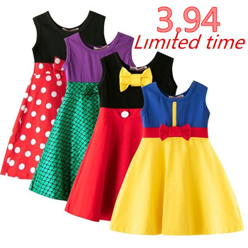 Baby Girl Summer Casual Wear Minnie Mulan Wonder Woman Snow White Rapunzel TinkerElena Princess Party Dress