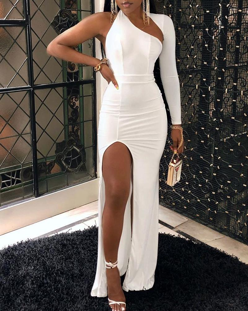 One Shoulder <font><b>High</b></font> <font><b>Slit</b></font> <font><b>Maxi</b></font> <font><b>Dress</b></font> <font><b>Sexy</b></font> Women Long Sleeve Cut Out Front Evening Party <font><b>Dress</b></font> Ladies White Bodycon Long <font><b>Dresses</b></font> image