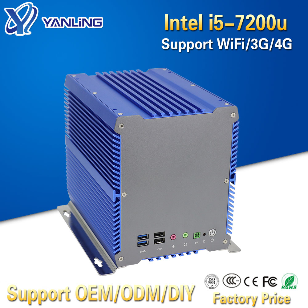 Yanling Latest Fanless Industrial Computer Intel I5-7200u Dual Core 2 Nic Port Embedded Mini PC With 3*PCI 1*PCIE For POS System