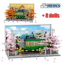 City Street View Cherry blossoms Kamakura Train Building Blocks Creator Architecture Anime Car Figures Bricks Toys For Children