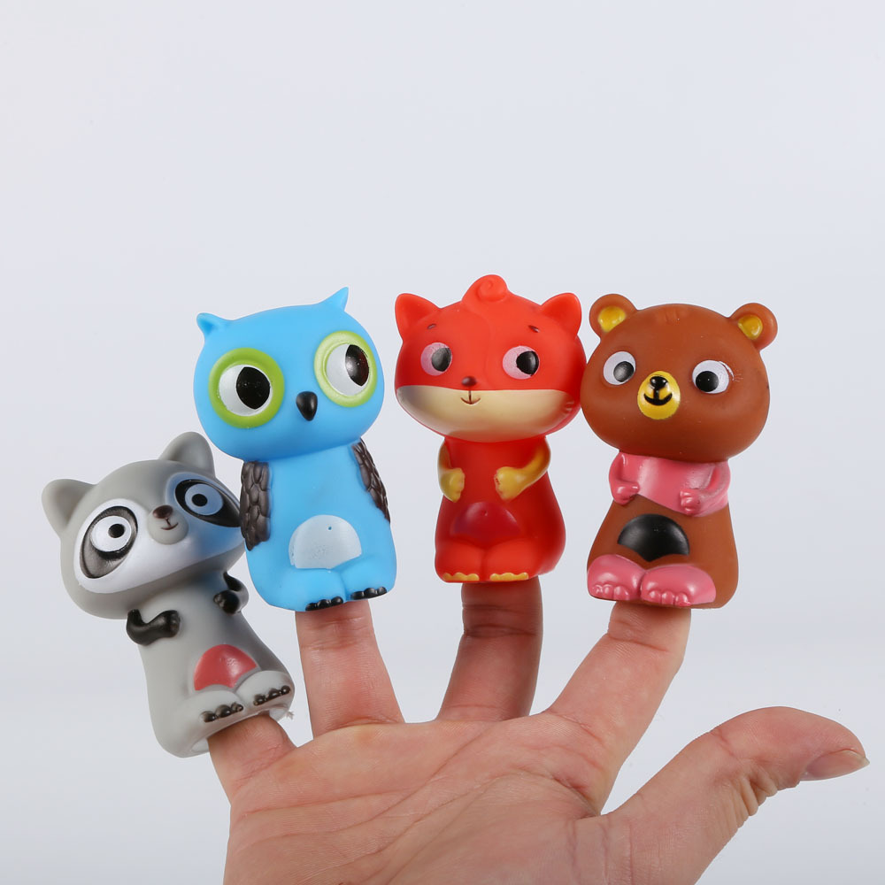 New 4 Pcs Interactive Animal Finger Puppet Doll Set  Kids Educational Cartoon Bear Series AnimalsToys for Girls and Boys Gift