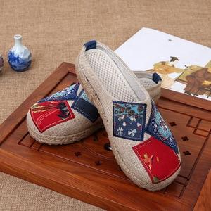 Image 2 - Veowalk Tay Phụ Nữ Mùa Hè Gần Mũi Giày Vải Lanh espadrilles Dép Cao Cấp Trung Quốc Nghệ Sĩ Nữ Thêu Giày Trượt Giày